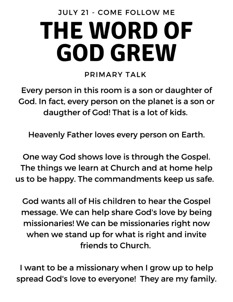 Simple One Minute Primary Talks for July Come Follow Me Theme. #OSSS #PRINTABLE #COMEFOLLOWME #TALKFORCHURCH www.orsoshesays.com