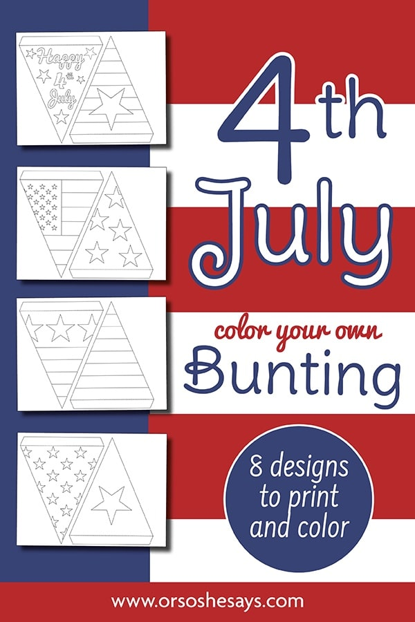 Free Fourth of July Bunting - Print and Color