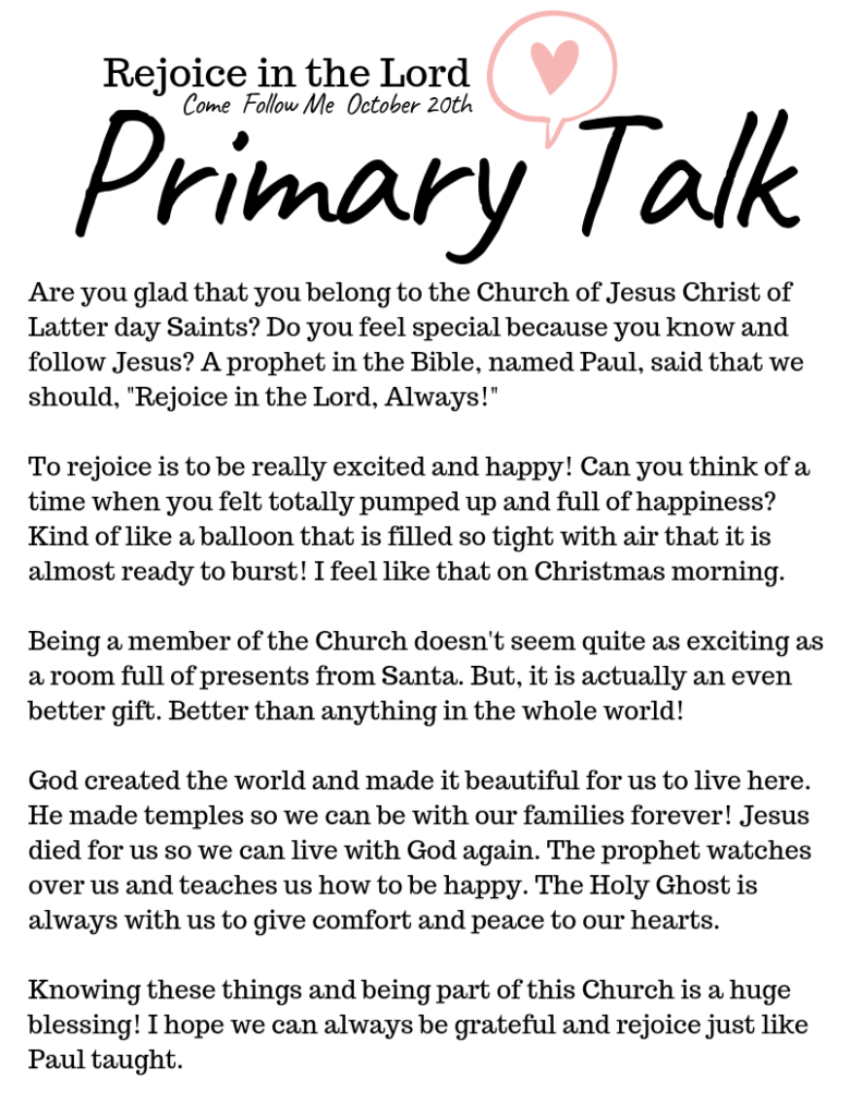 Easy talks for Primary children. Our huge selection of Primary Talks make speaking in church easy and meaningful. This template is about Rejoicing in the Lord. #OSSS #PrimaryTalk #ComeFollowMe #LDS #RejoiceinJesus.