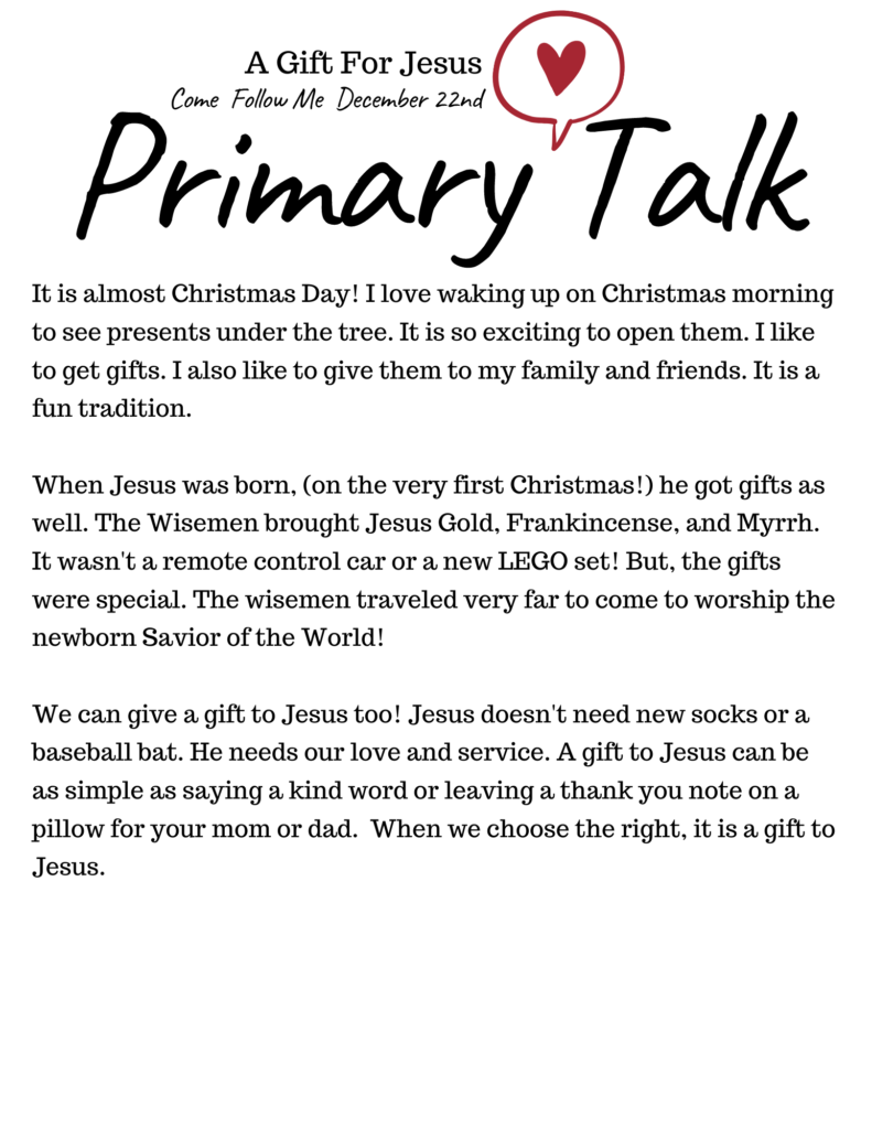 A Gift For Jesus talk for Children in Primary. This talk is about how we can bring a gift to Jesus like the Wise Men of old. #OSSS #GiftForJesus #Wisemen #PrimaryTalk