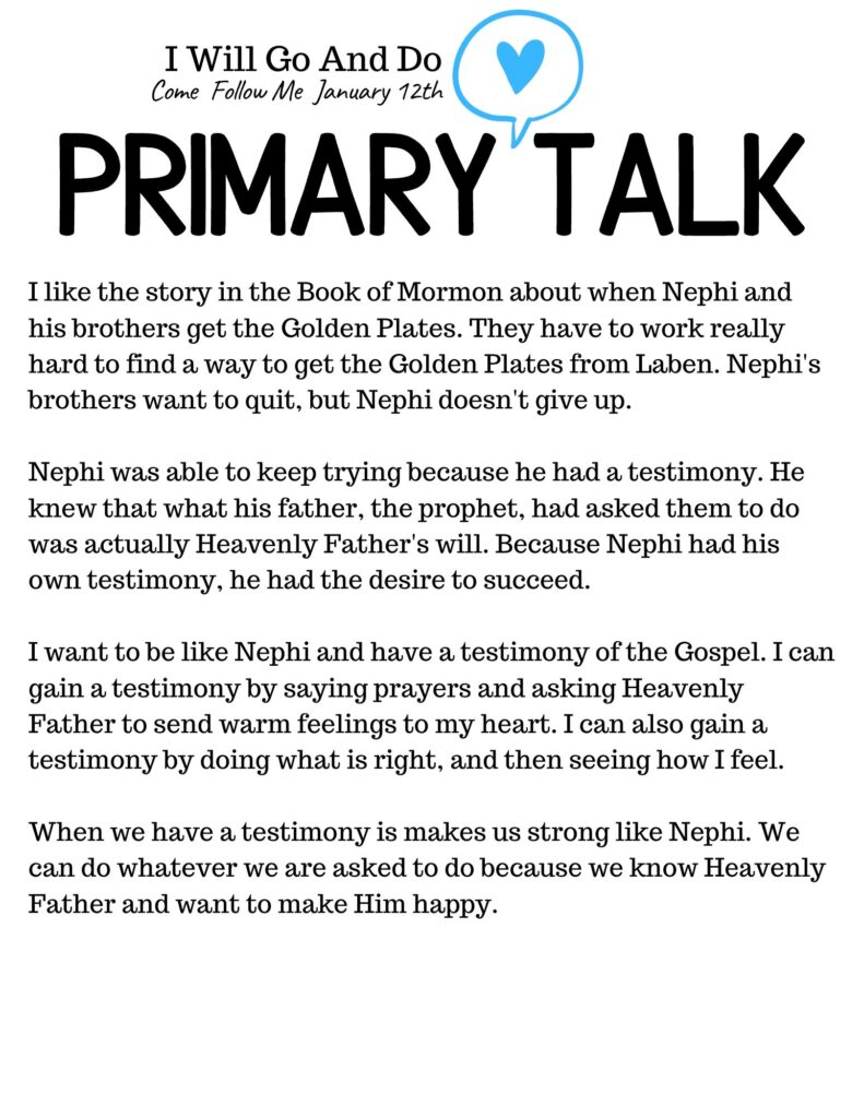 Book of Mormon Primary Talk Template about being like Nephi. Why we need a testimony of the Gospel. #BookofMormon #PrimaryTalk #GoAndDo #Nephi #OSSS