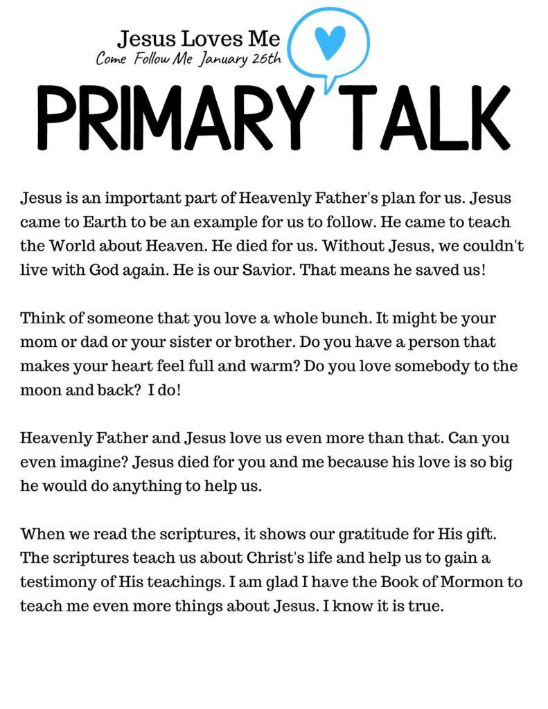 Jesus Loves Me Book Of Mormon Primary Talk Template. #OSSS #BOM #Jesus #PrimaryTalk #ComeFollowMe