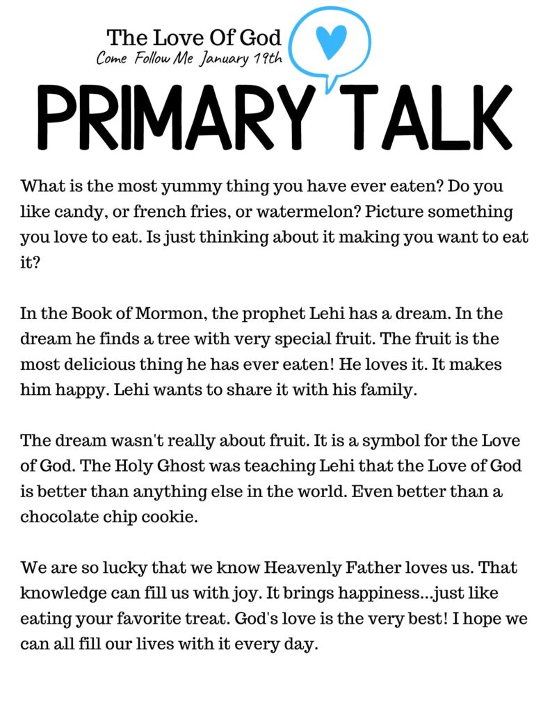 Primary Talk Template for a lesson on The Love Of God. This simple message teaches about how much God loves each child. #OSSS #PrimaryTalk #LoveofGod #BookofMormon #ComeFollowMe