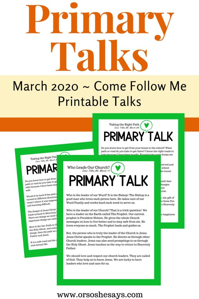 Printable Primary Talks