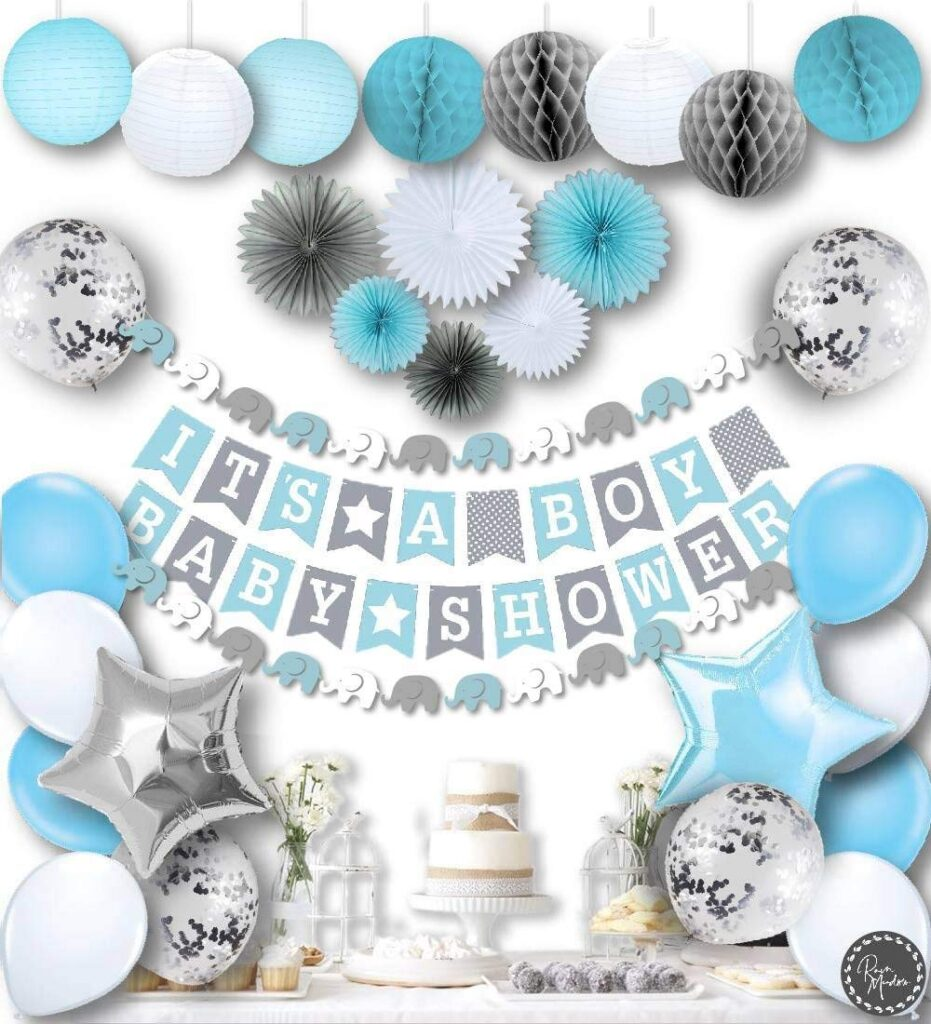 baby blue shower decorations