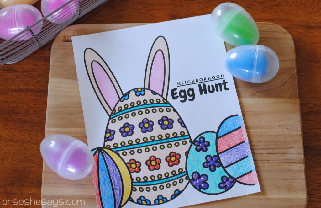 Decorated Neighborhood Easter Egg Hunt printable. Host a fun Easter Egg Hunt during Social Distancing.
