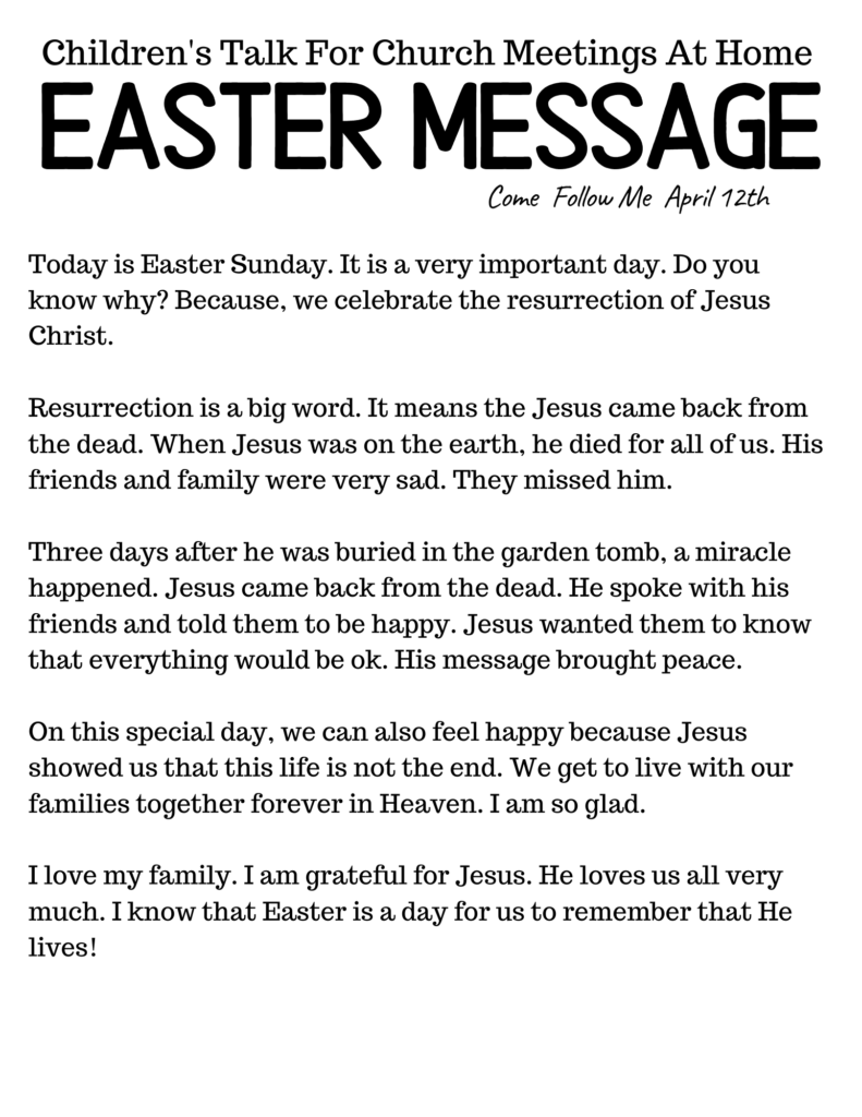 Children's Talk for Church Meetings at Home- Easter Message. #OSSS #LDS #EASTER #PRIMARYTALK