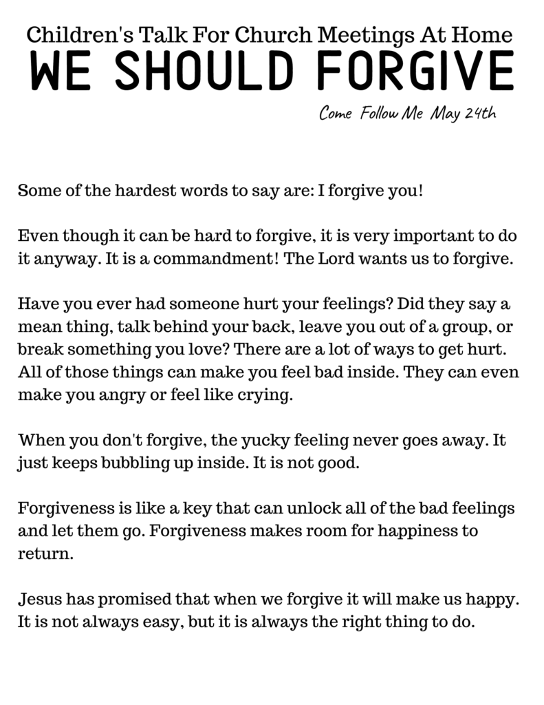 LDS Primary Talk: We Should Forgive #OSSS #ComeFollowMe #God #LDSPrimary