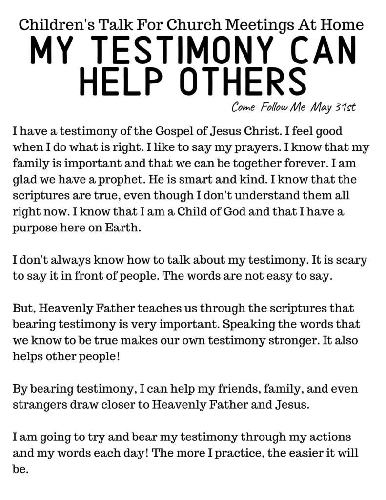 LDS Primary Talk for Home Based Church: My Testimony Can Help Others #OSSS #ComeFollowMe #God #LDSPrimary