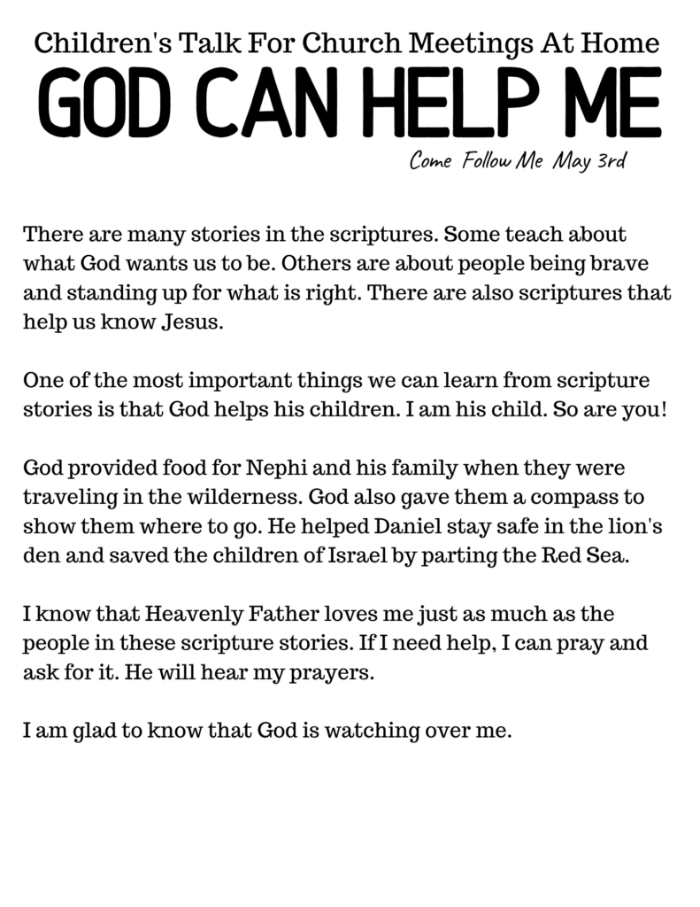 LDS Primary Talk for Church at Home - God Can Help Me #OSSS #ComeFollowMe #God #LDSPrimary