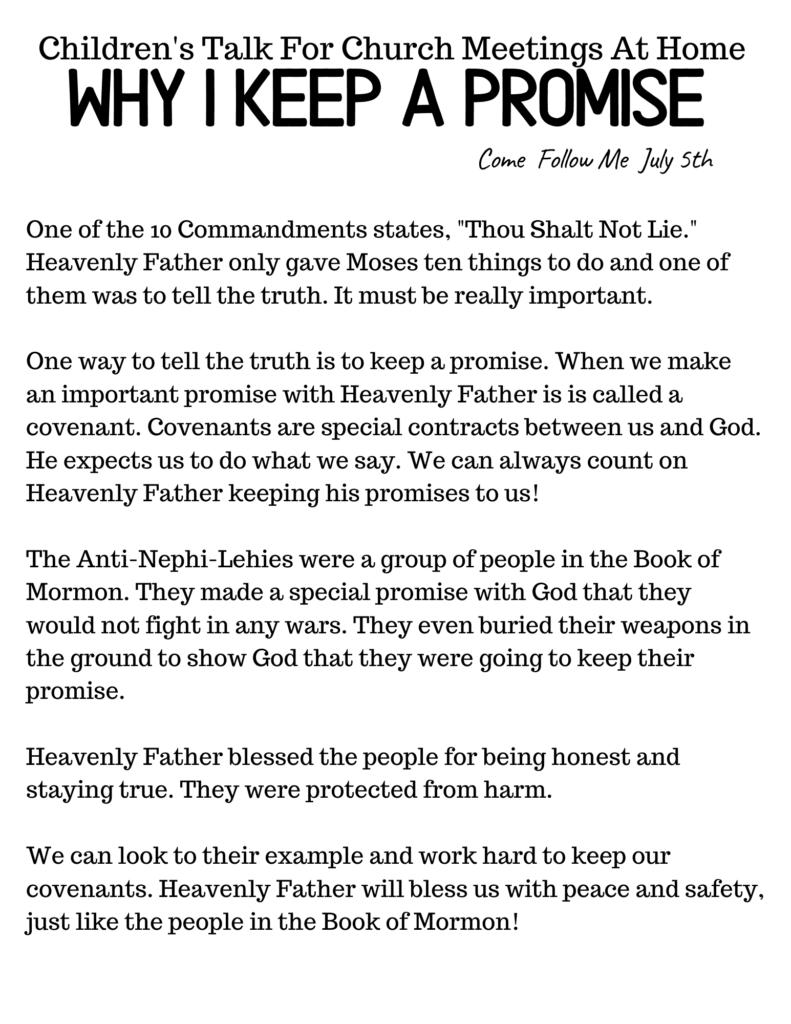 Best Primary Talks for Kids #LDS #OSSS #COMEFOLLOWME #PRIMARYTALK #PROMISE #HONESTY
