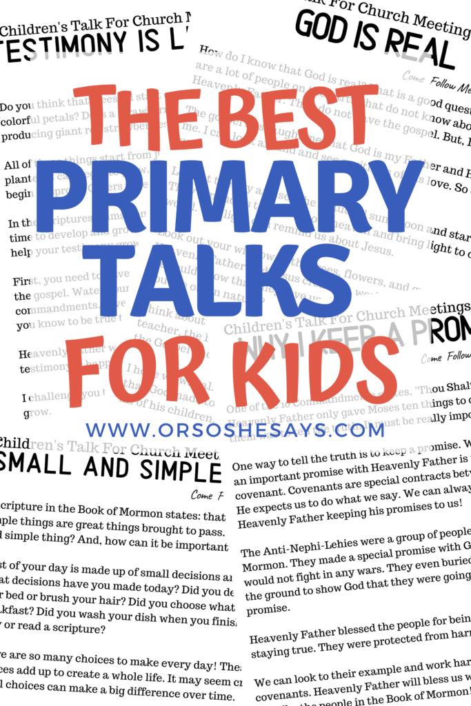 #OSSS #PrimaryTalk #SmallAndSimpleThings #Gospel #ComeFollowMe #GodIsReal