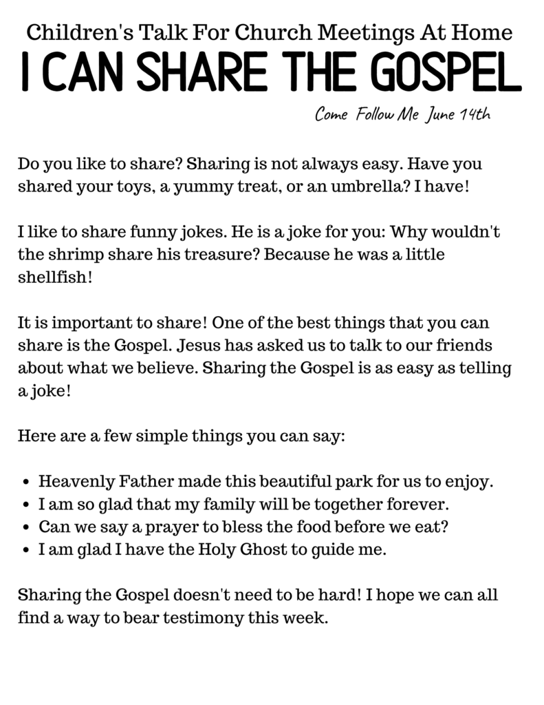 Share the Gospel Primary Talk for Children