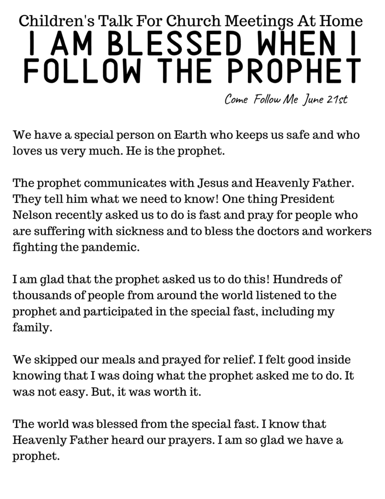 Come Follow Me Talk for June 2020 on following the Prophet.