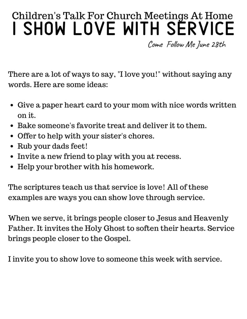 Show love through service Primary Talk.