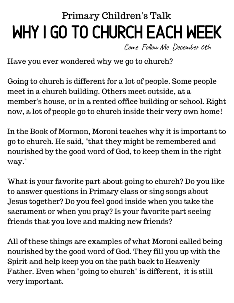 This simple downloadable Primary Talk explains the importance of going to church each week. #OSSS #PrimaryTalk #Church #ComeFollowMe