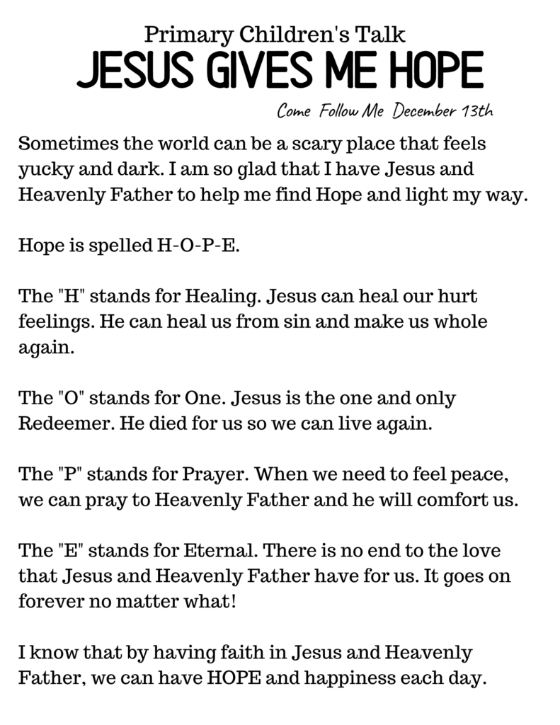 Downloadable Primary Talk For Kids about Jesus and Hope. #OSSS #ComeFollowMe #Jesus #HOPE