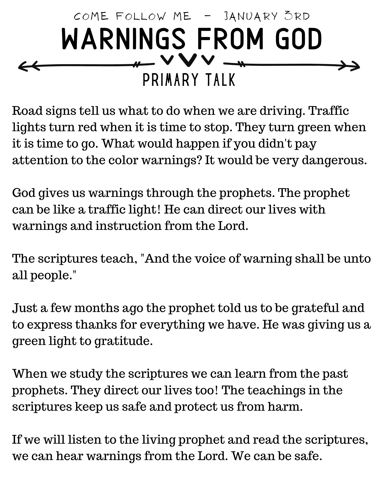 Primary Talk Warnings From God
