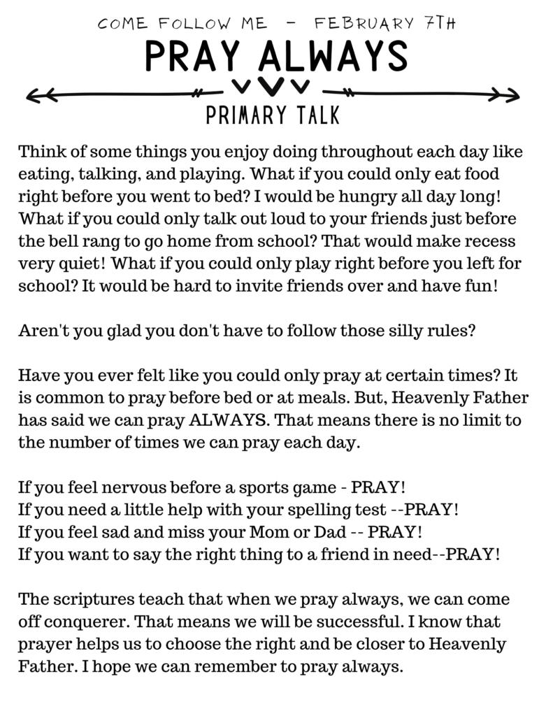 Pray Always Primary Talk