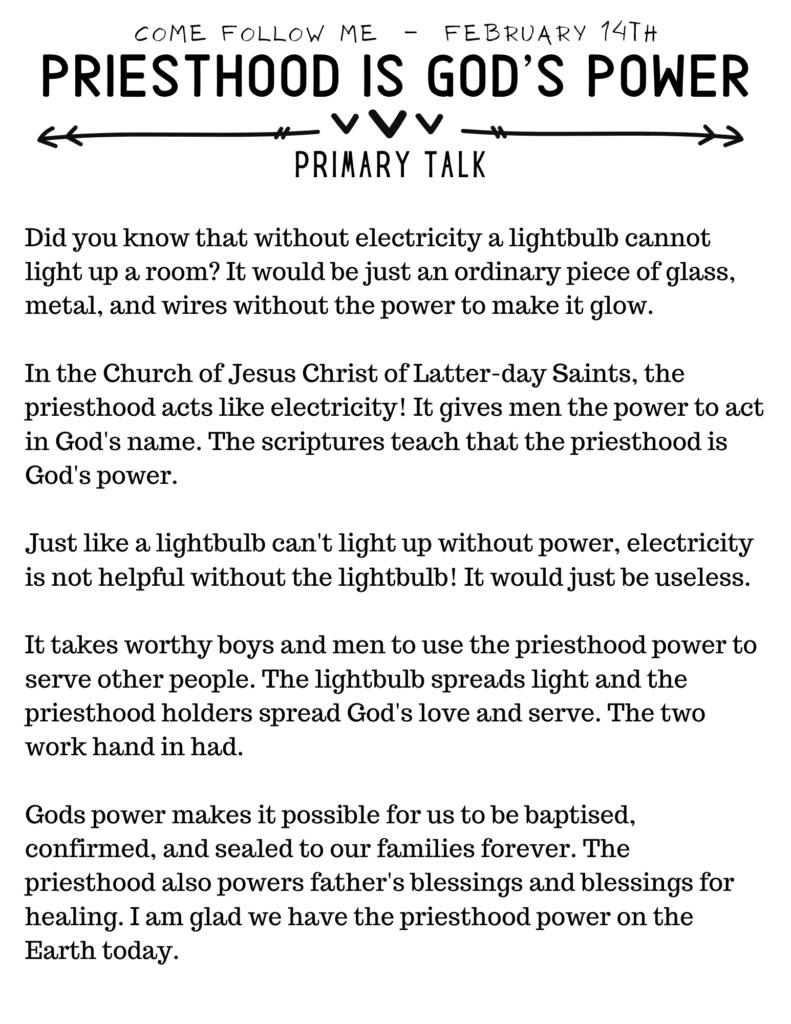 Priesthood Is Gods Power Primary Talk