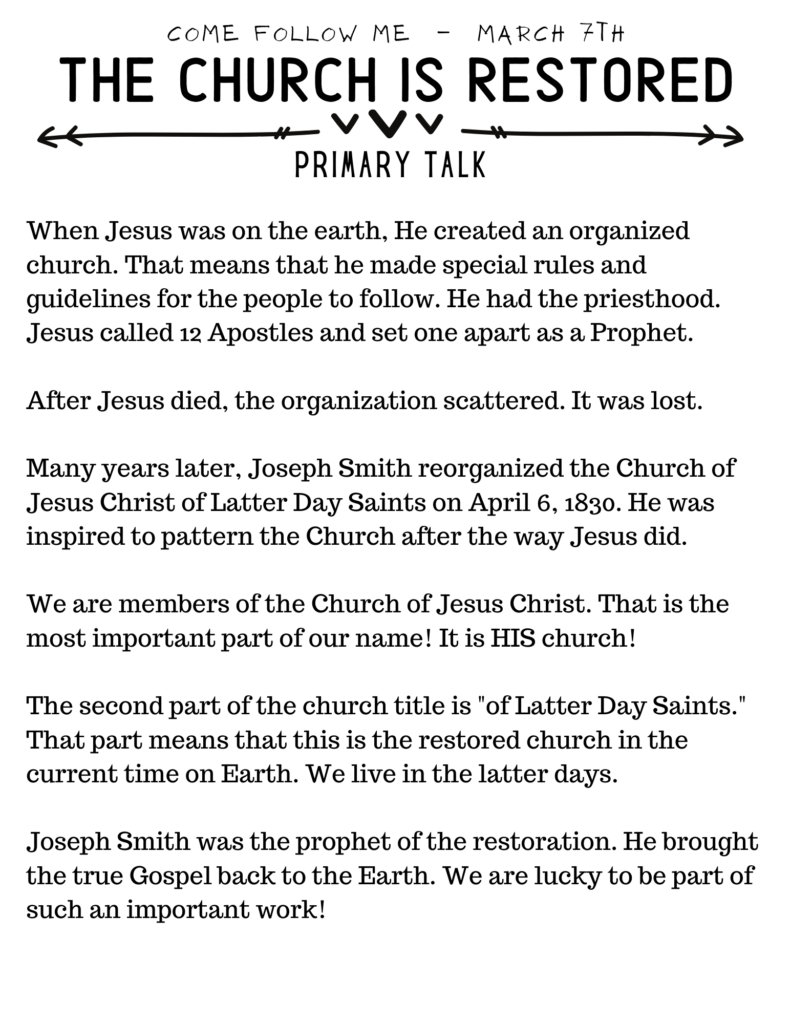 Primary Talk about the Church being restored to the earth. #OSSS #JosephSmith #LDS #ComeFollowMe #Jesusu