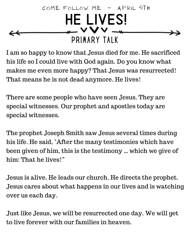 Primary Talk about Easter. He lives! Download and use this talk for Primary lessons or for home gospel study. #OSSS #Easter #HeLives #Jesus #PrimaryTalk