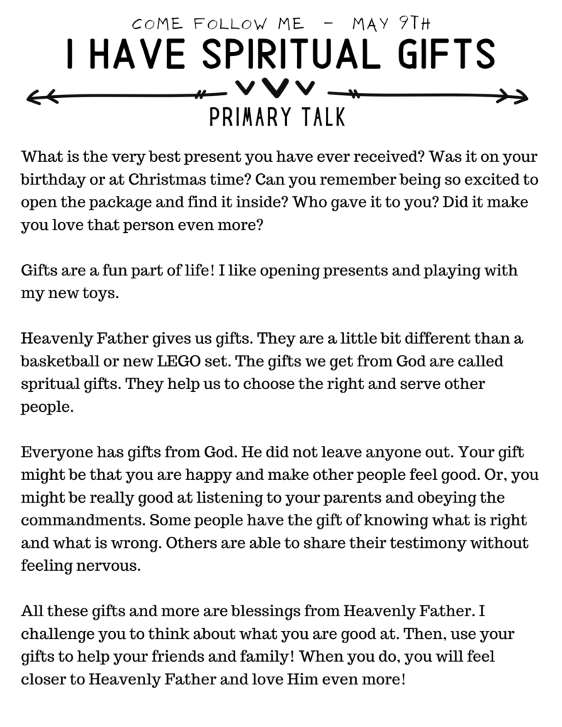 Primary Talk about Spiritual Gifts