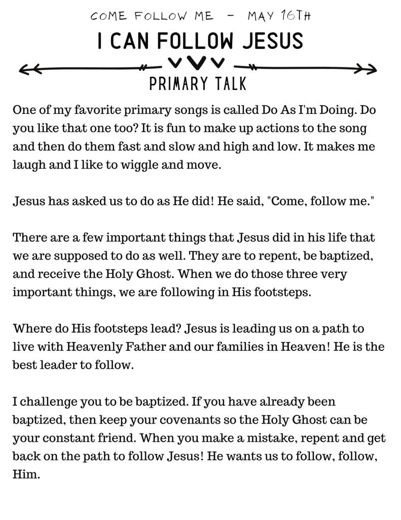 I Can Follow Jesus Talk