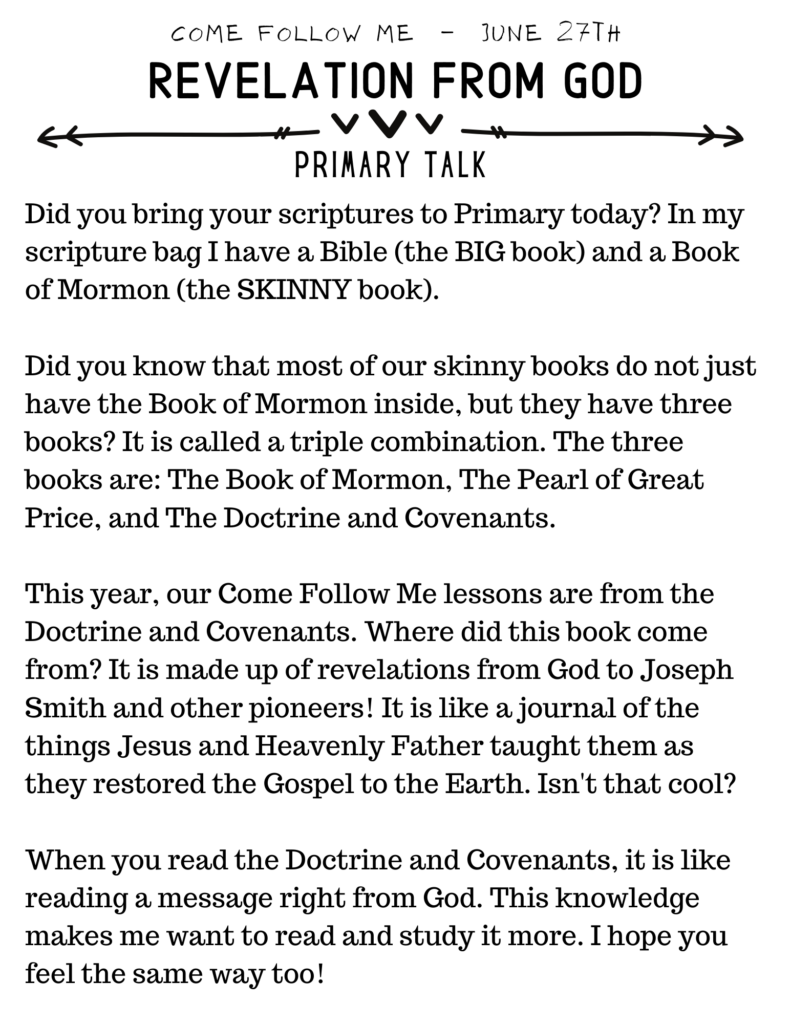 Simple and Easy to Read Primary Talk about The Doctrine and Covenants and Revelation From God #D&C #OSSS #Revelation #Study #ComeFollowMe #PrimaryTalk
