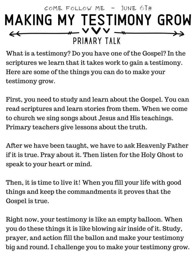 Primary Talk for Come Follow Me #Testimony #OSSS #ComeFollowMe
