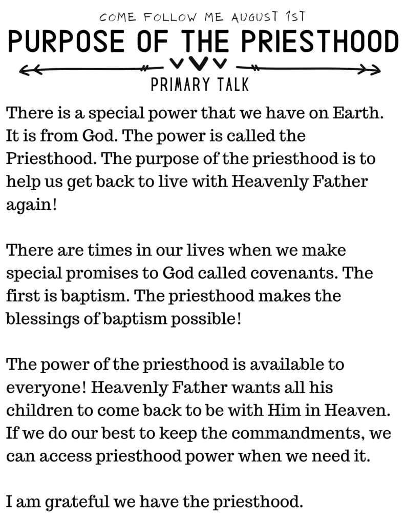 The Priesthood is for all of God's Children. Simple Primary Talk about this special power on Earth. #OSSS #Priesthood #ComeFollowMe