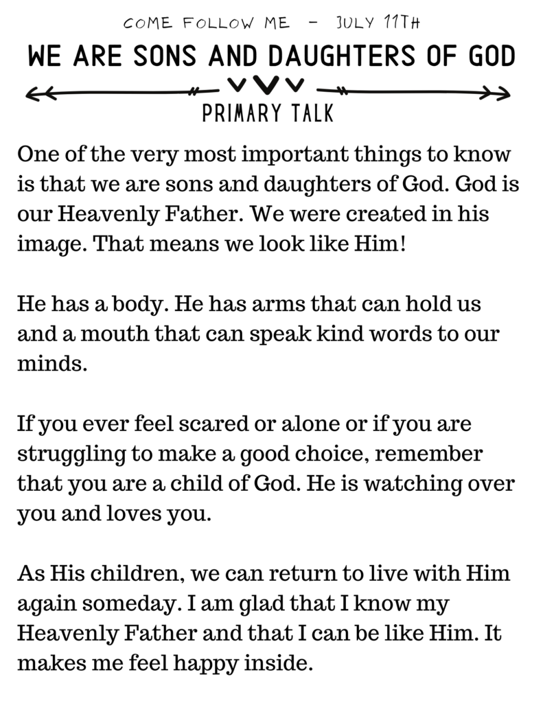Primary Talk We are Sons and Daughters of God. Come Follow Me July Topics. #OSSS #ComeFollowMe #PrimaryTalk