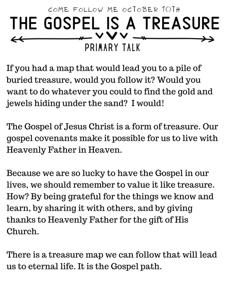 Primary Talk about how The Gospel is a Treasure #OSSS #PrimaryTalk #LDS #ComeFollowMe